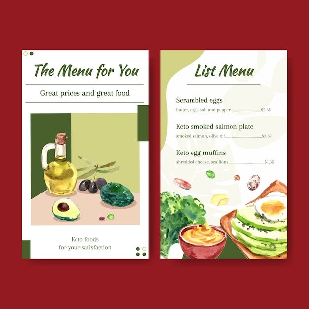 Free Vector Menu Template With Ketogenic Diet Concept For Restaurant And Food Shop Watercolor Illustration