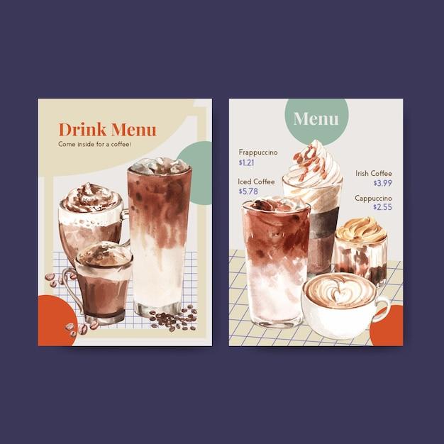 Шаблон меню с концепцией корейского стиля кофе для ресторана и бистро акварель Бесплатные векторы