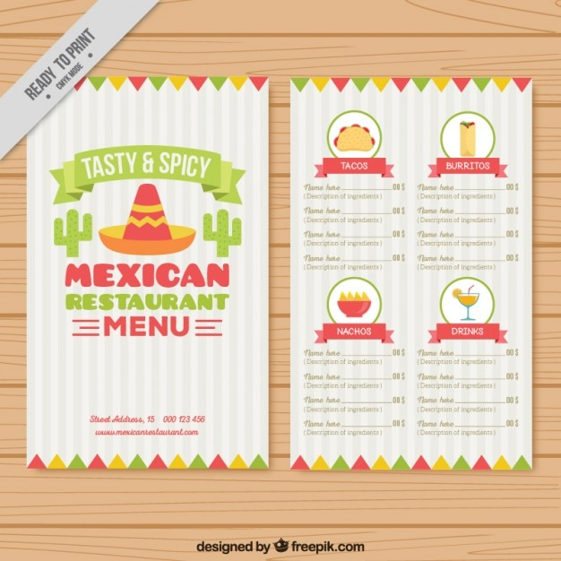 menu template with mexican elements vector free download
