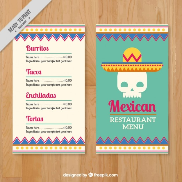 Menu Template With Mexican Skull Vector | Premium Download