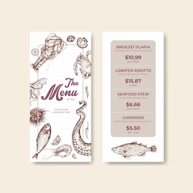Modello di menu con concept design di frutti di mare per pubblicità e illustrazione di marketing Vettore gratuito