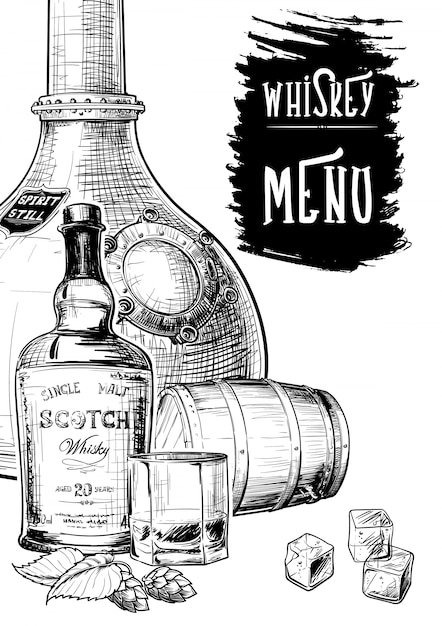 Menu templated for the whisky related businesses Premium Vector