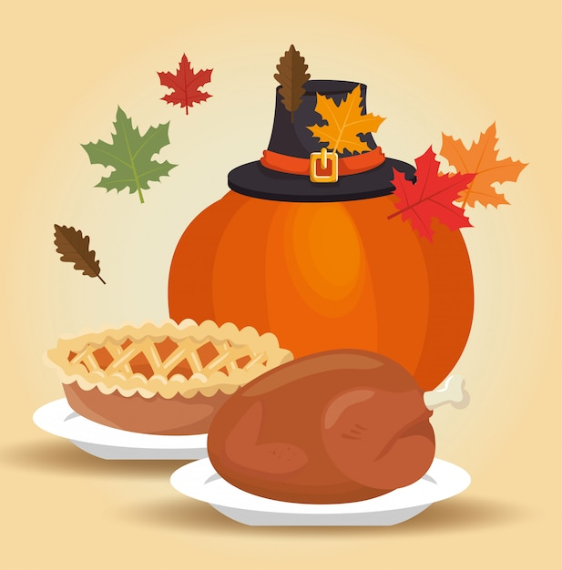 Menu thanksgiving autumn leaves design Free Vector