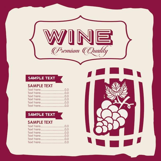 Modello di vino menu Vettore gratuito