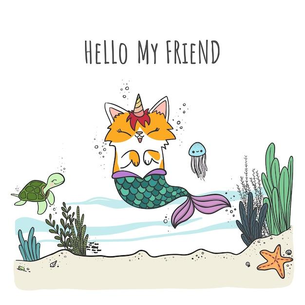Mercaticorn, милый мультяшный кот-русалка с рогом единорога, плавающий в море с морскими животными. Premium векторы