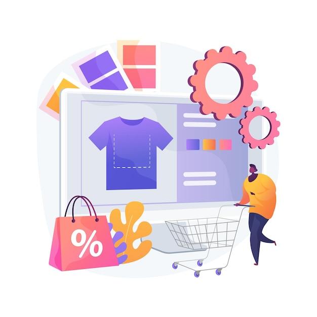 Мерч одежды абстрактное понятие векторные иллюстрации. одежда для мероприятий, товары на заказ, услуги по дизайну товаров, фирменный принт на одежде, абстрактная метафора на онлайн-сайте производителя товаров. Бесплатные векторы