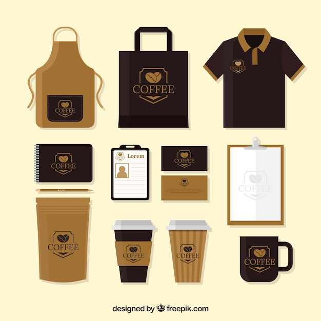 Merchandising Pack Of Cafe And Stationery Vector Free