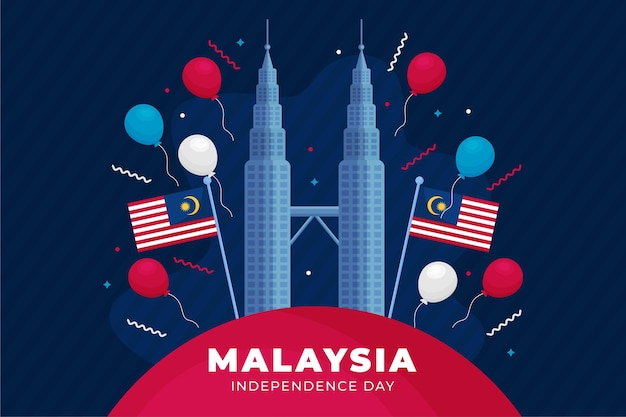 Merdeka malaysia independence day background Free Vector