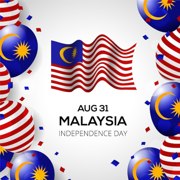 Merdeka malaysia independence day with flag and balloons Free Vector