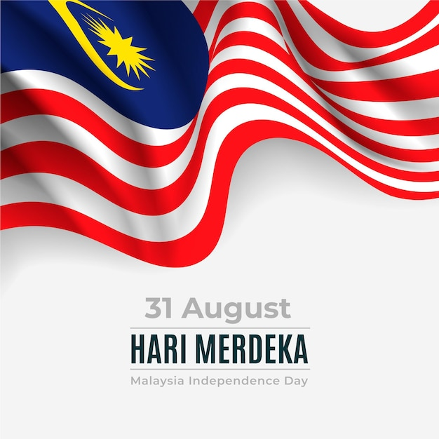 Merdeka malaysia independence day with flag Free Vector