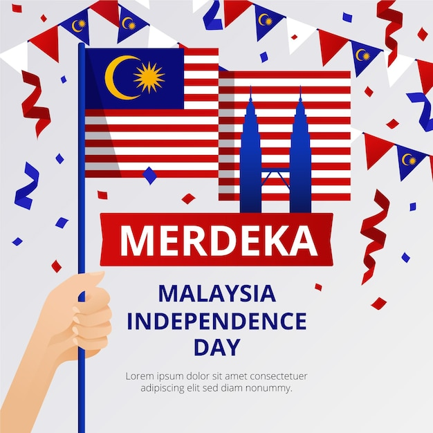 Merdeka malaysia independence day with flags Free Vector