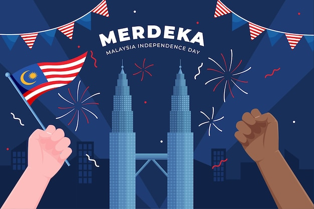 Merdeka malaysia independence day with hands Free Vector