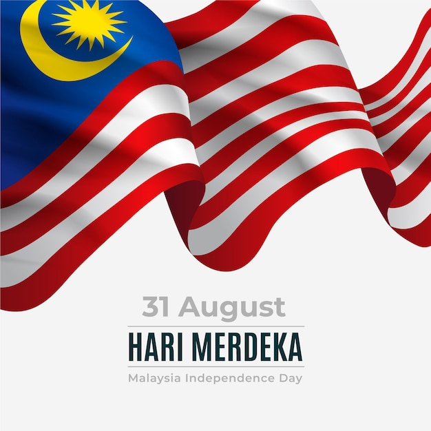 Merdeka malaysia independence day with realistic flag Premium Vector