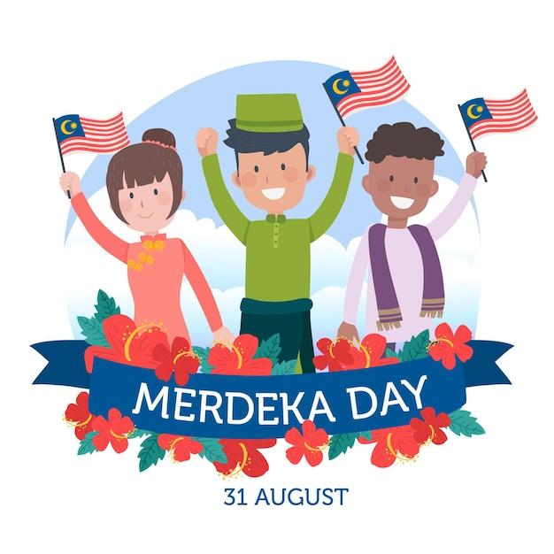 ムルデカマレーシア独立記念日 無料ベクター