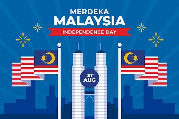 Festa dell'indipendenza di merdeka malesia Vettore gratuito