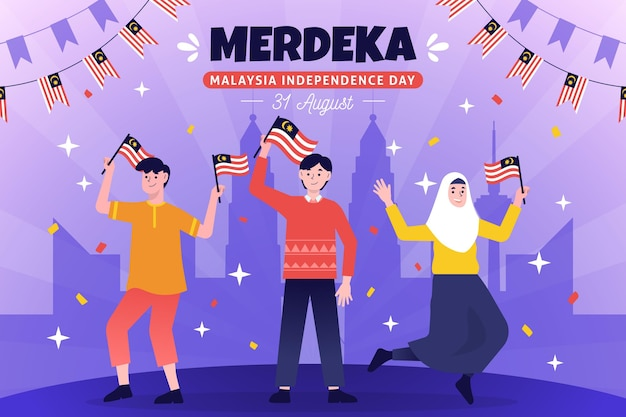 Merdeka malaysia independence day Free Vector
