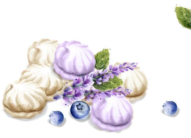 Meringue watercolor. lavender flavor dessert Premium Vector