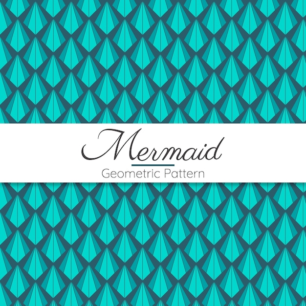 Mermaid abstract geometric seamless pattern Premium Vector