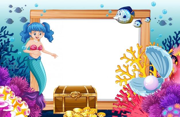 海の背景の下に空白のバナー漫画のスタイルで人魚と海の動物のテーマ 無料ベクター
