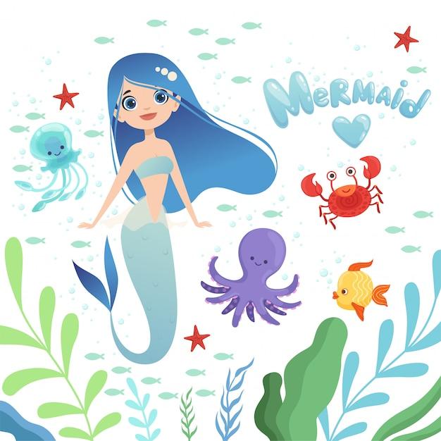 Русалка фон. подводная жизнь с мультяшными сказочными персонажами русалки ребенка осьминога девушка иллюстрация Premium векторы