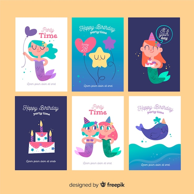 Mermaid birthday card collection Free Vector
