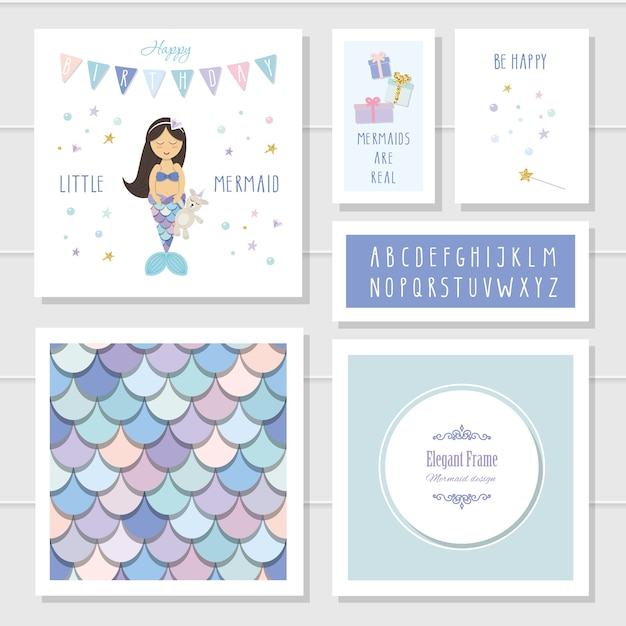 Mermaid Birthday Card Templates Set Vector
