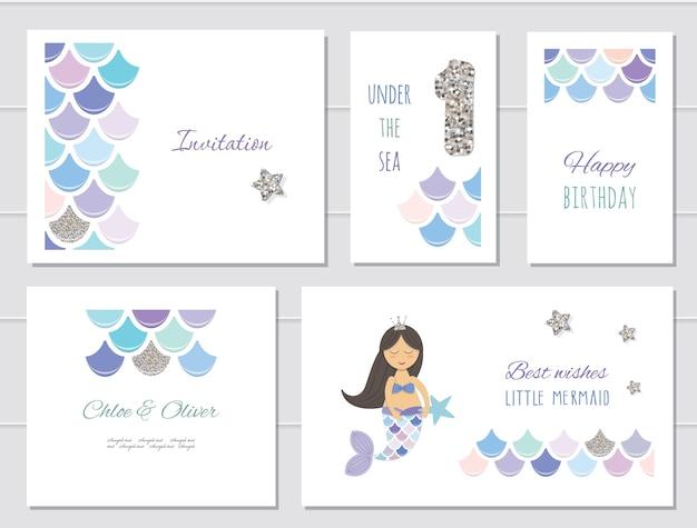 Mermaid birthday cards set for girls. Premium Vector