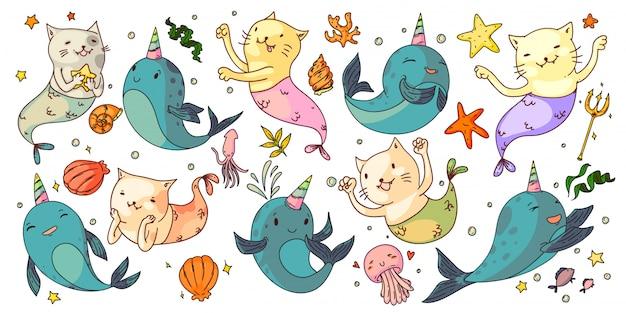 Русалка кошки и единороги нарвалы. фантазия подводных животных установлена. веселые русалочки, единороги, морские ракушки, медузы, морские звезды. сказочные рисунки природы океана Premium векторы