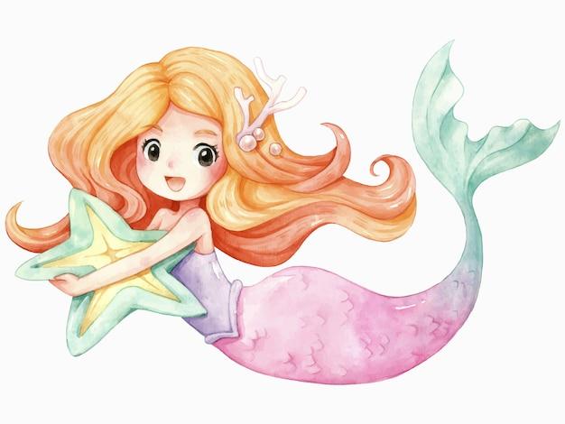 Mermaid character cartoon watercolor Premium Vector