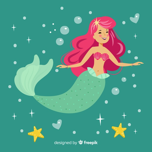 Mermaid character portrait flat design Free Vector