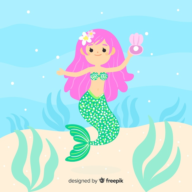 Mermaid character portrait flat design Free Vector