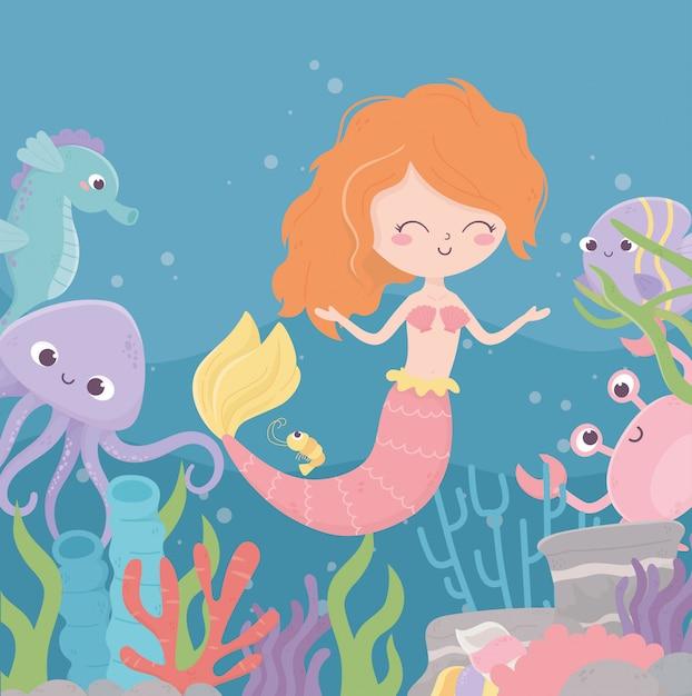 Русалка краб осьминог морской конек коралловый риф водоросли мультфильм под морем векторная иллюстрация Premium векторы