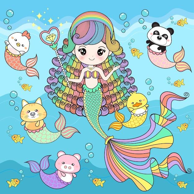 Mermaid cute with friends Premium Vector