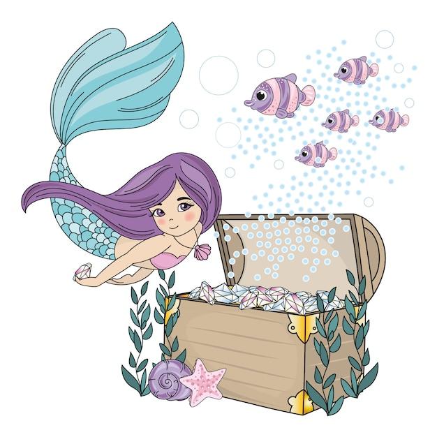 Mermaid diamond sea travel clipart color vector illustration set Premium Vector