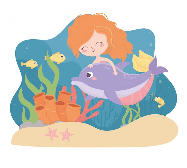 Mermaid dolphin fishes shrimp starfish sand coral cartoon under the sea vector illustration Premium Vector