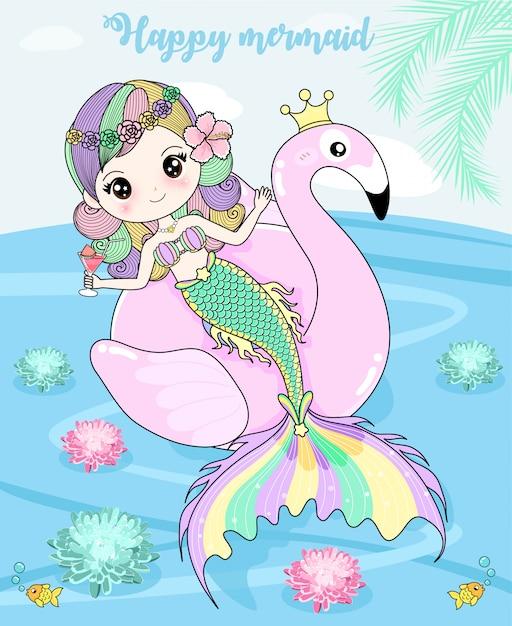 Mermaid enjoys the holidays Premium Vector