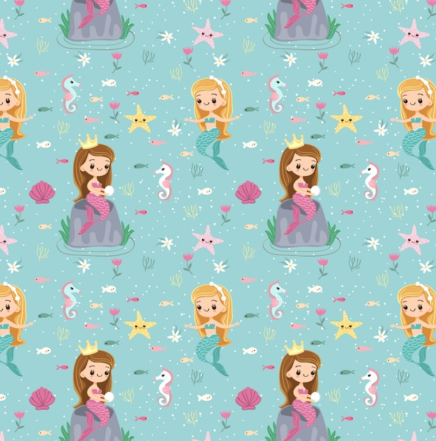 Mermaid and friend seamless pattern Premium Vector