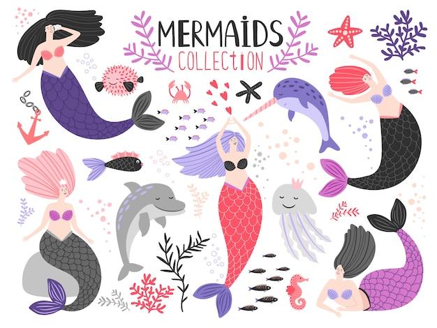 Mermaid girls collection Premium Vector