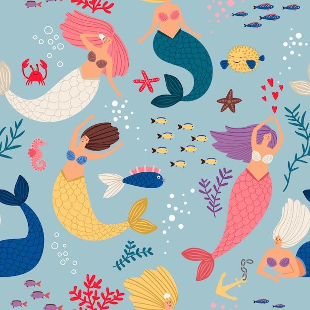 Mermaid girls pattern Premium Vector