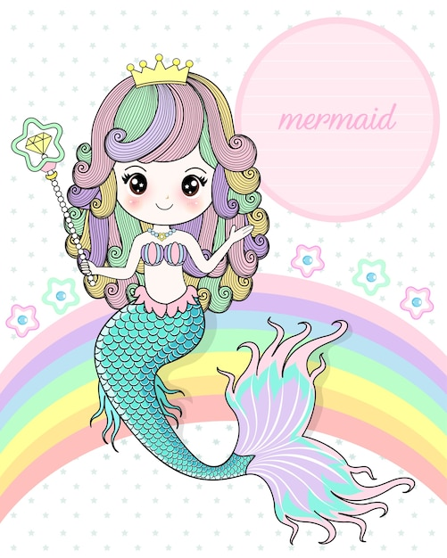 Mermaid holding a magic wand Premium Vector