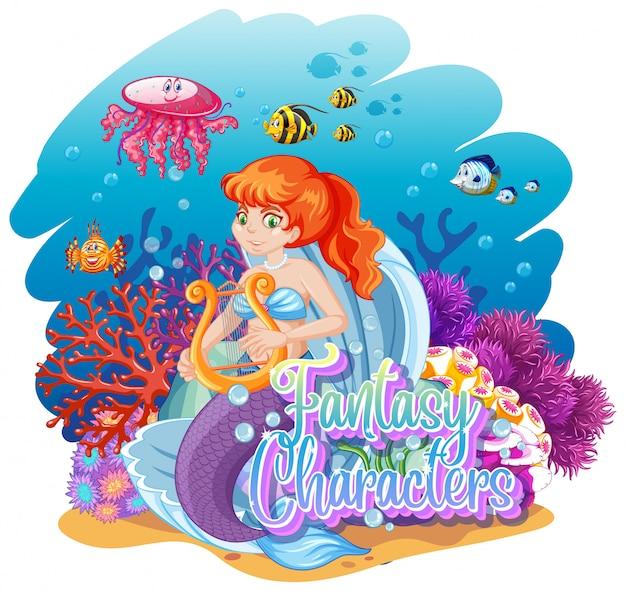 水中世界の人魚 無料ベクター