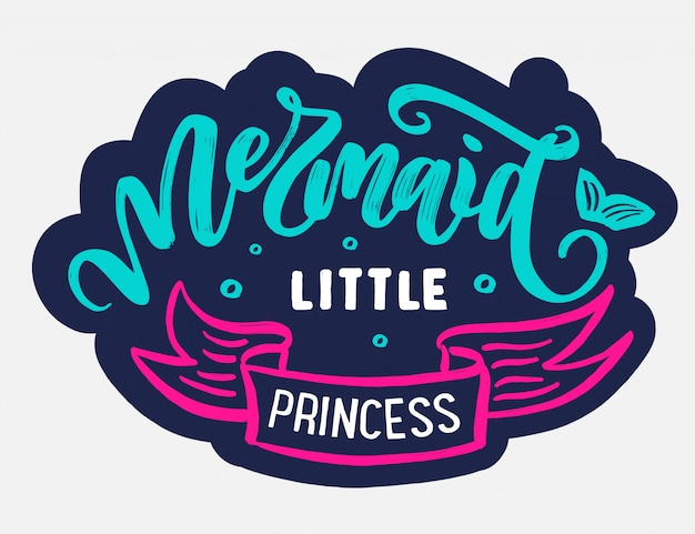 Mermaid logo with hand-drawn text and phrases. Premium Vector