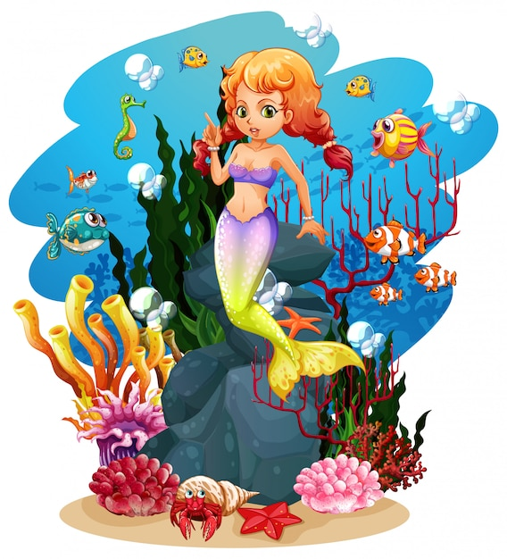 Mermaid and many fish in the ocean Free Vector