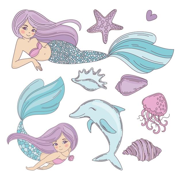 Mermaid ocean cartoon travel tropical vector illustration Premium Vector