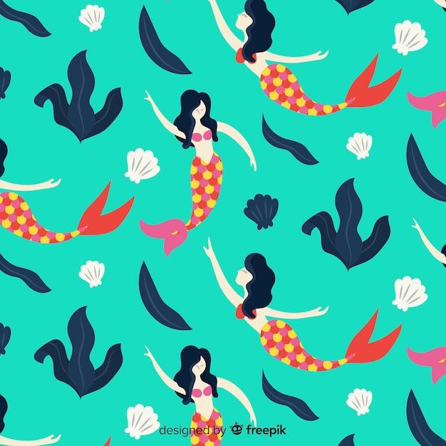 Mermaid patter Free Vector