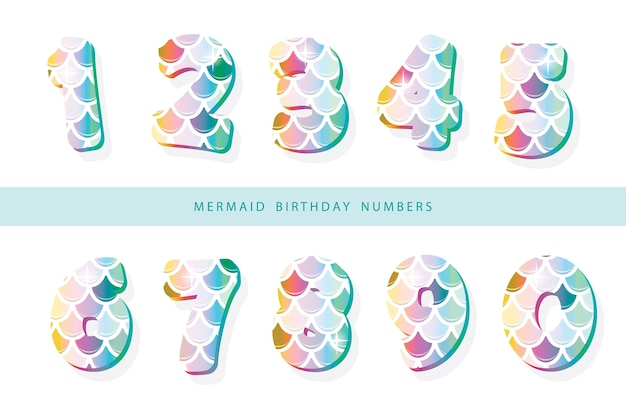 Mermaid scale numbers Premium Vector
