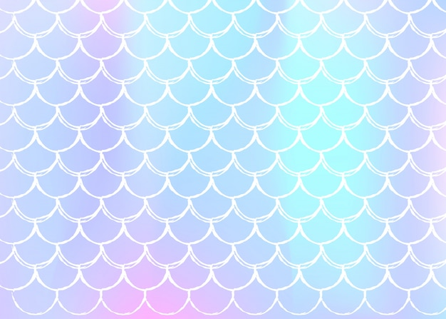 Mermaid scales background with holographic gradient. Premium Vector