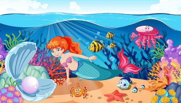 Mermaid and sea animal theme cartoon style on under sea background Free Vector