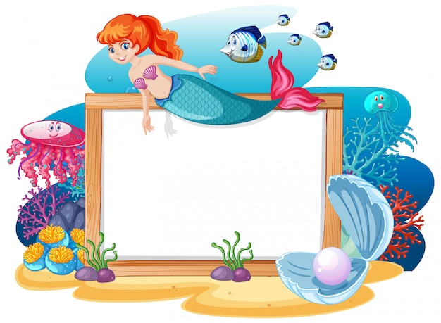 Mermaid and sea animal theme with blank banner cartoon style on white background Free Vector