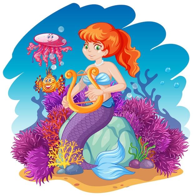 Tema sirena e animali marini Vettore gratuito